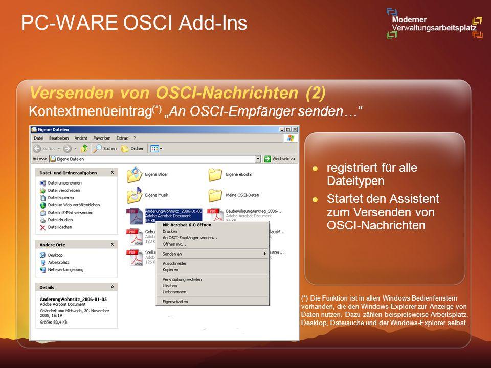 PC-WARE OSCI Add-Ins Versenden von OSCI-Nachrichten (2)