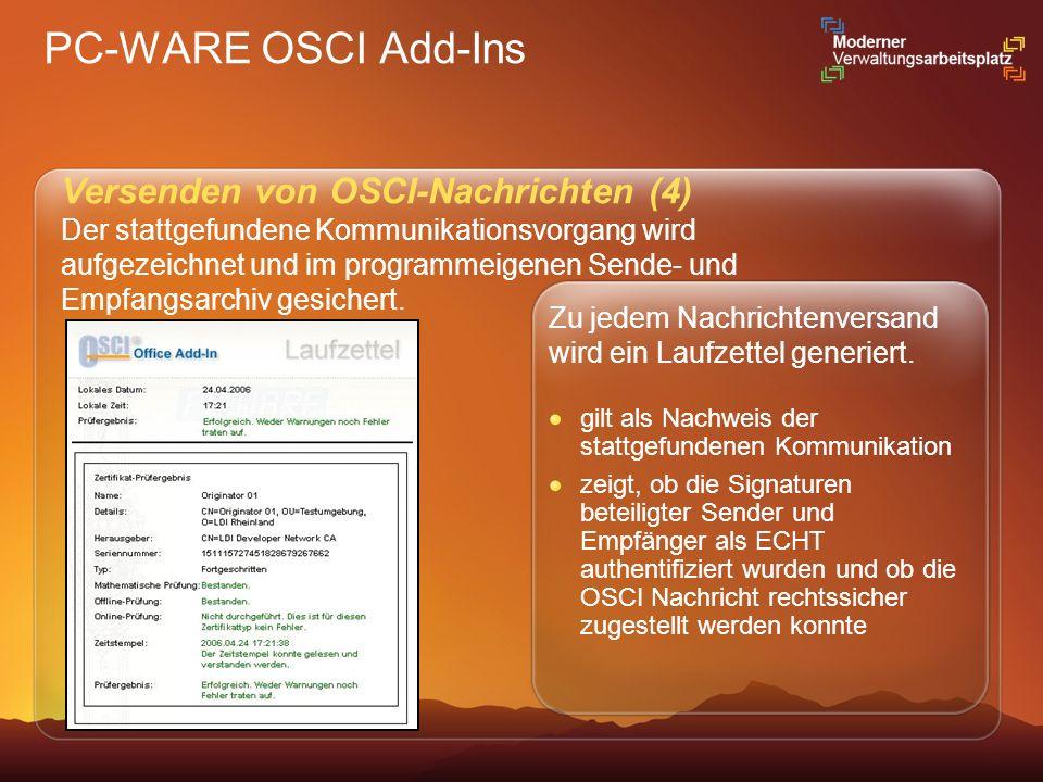 PC-WARE OSCI Add-Ins Versenden von OSCI-Nachrichten (4)