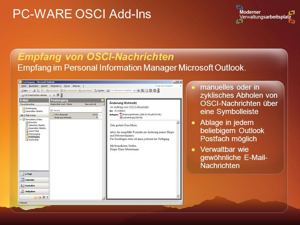 PC-WARE OSCI Add-Ins Empfang von OSCI-Nachrichten