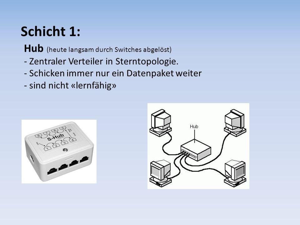 Schicht 1: Hub (heute langsam durch Switches abgelöst)