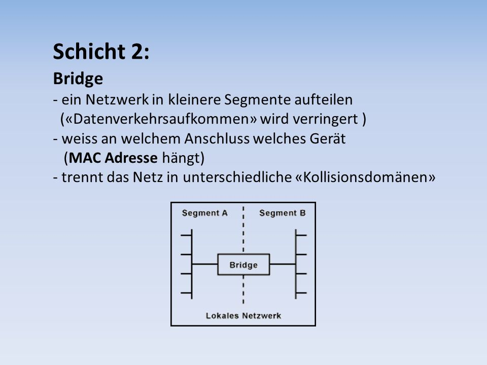 Schicht 2: Bridge.