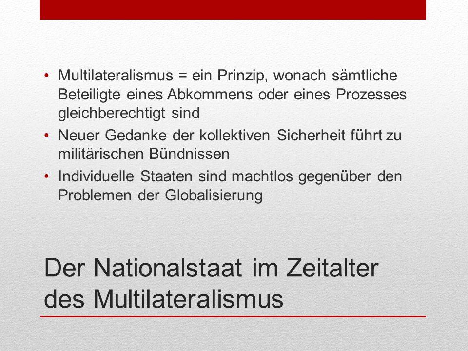 Der Nationalstaat im Zeitalter des Multilateralismus