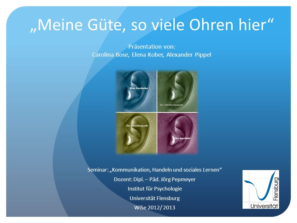 """""""Meine Güte, so viele Ohren hier Präsentation von: Carolina Bose, Elena Kober, Alexander Pippel"""