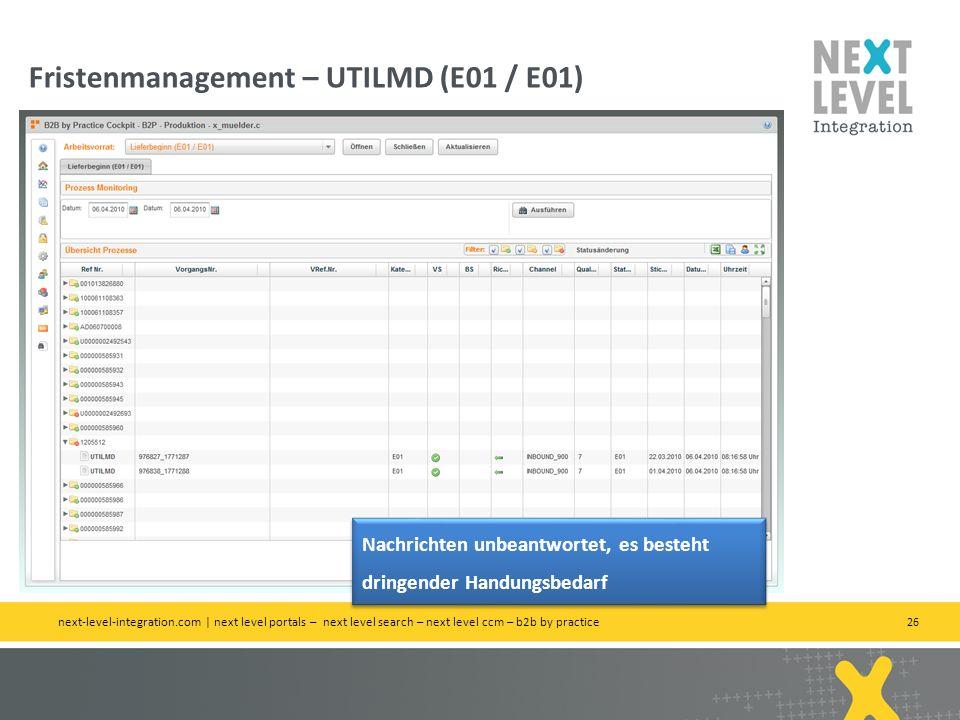 Fristenmanagement – UTILMD (E01 / E01)