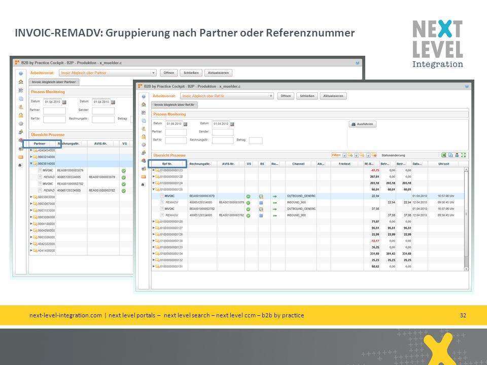 INVOIC-REMADV: Gruppierung nach Partner oder Referenznummer