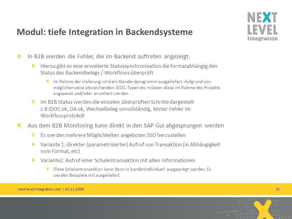 Modul: tiefe Integration in Backendsysteme