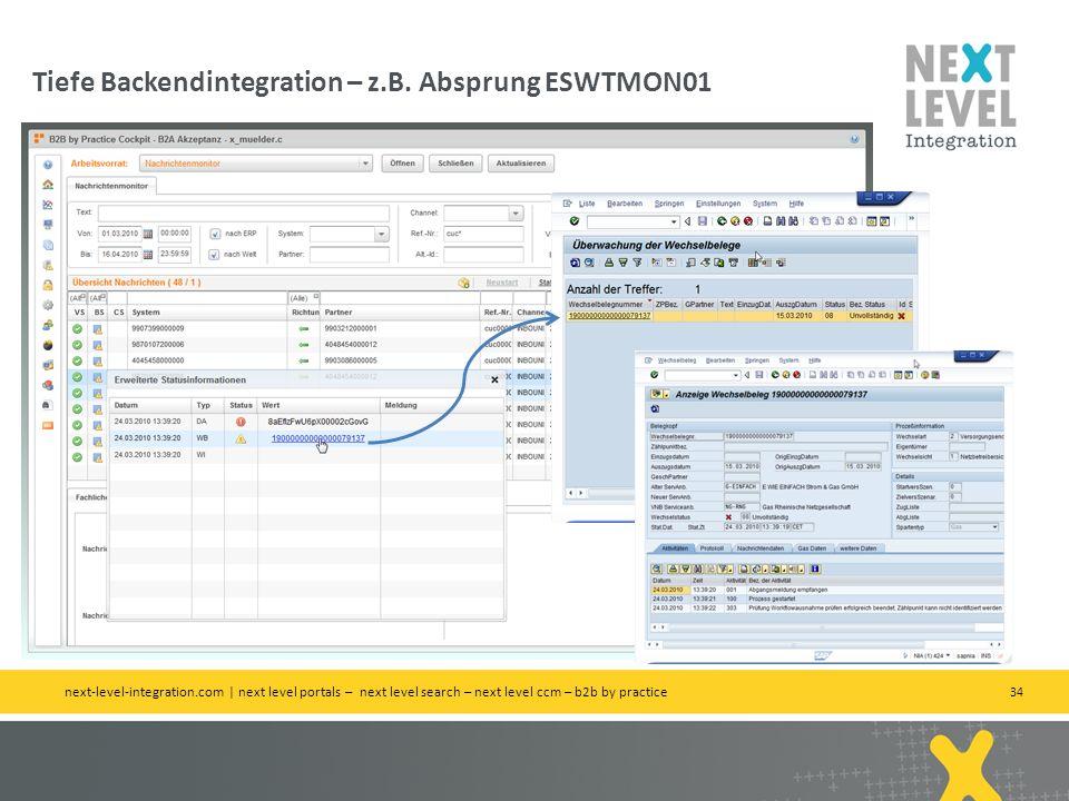 Tiefe Backendintegration – z.B. Absprung ESWTMON01