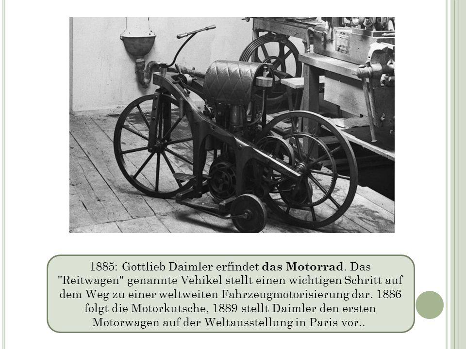 1885: Gottlieb Daimler erfindet das Motorrad