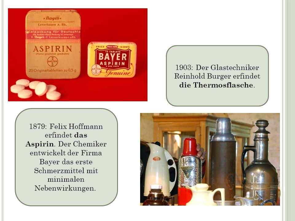 1903: Der Glastechniker Reinhold Burger erfindet die Thermosflasche.