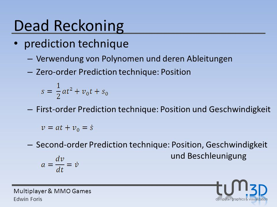 Dead Reckoning prediction technique