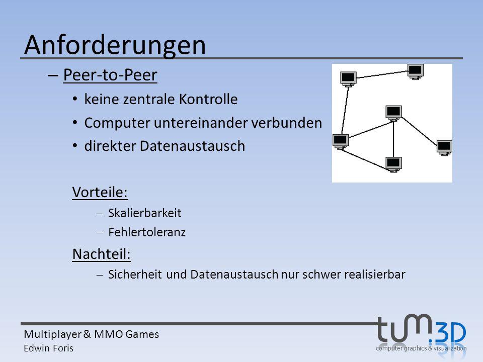 Anforderungen Peer-to-Peer keine zentrale Kontrolle