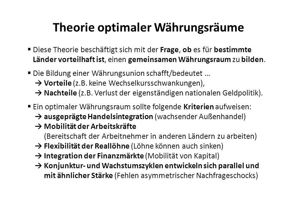 Theorie optimaler Währungsräume