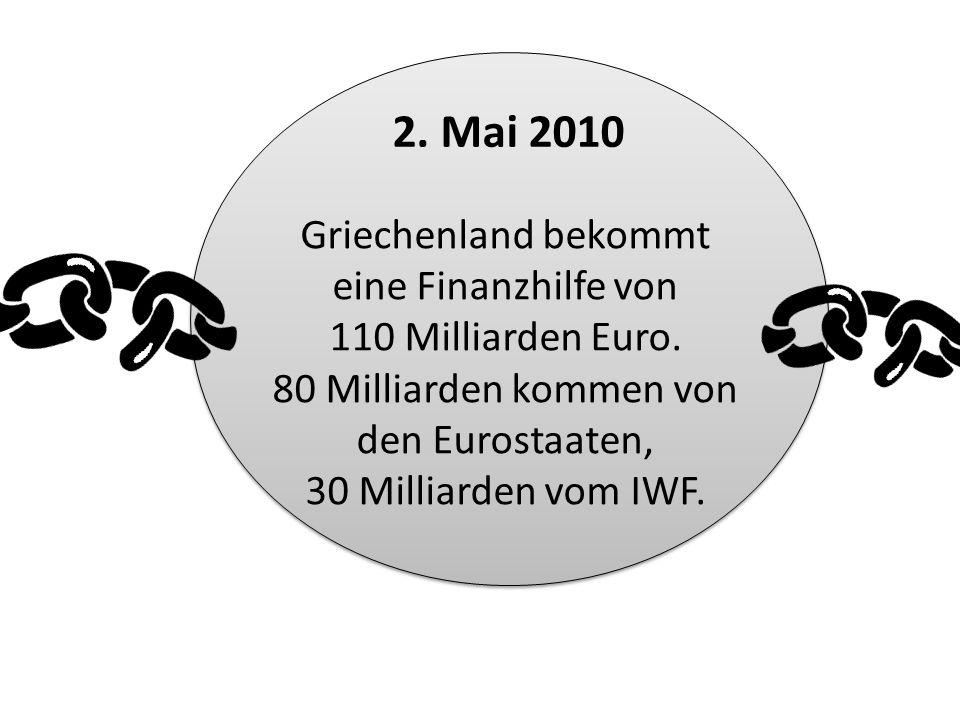 2. Mai 2010 Griechenland bekommt eine Finanzhilfe von 110 Milliarden Euro.