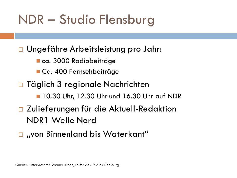NDR – Studio Flensburg Ungefähre Arbeitsleistung pro Jahr: