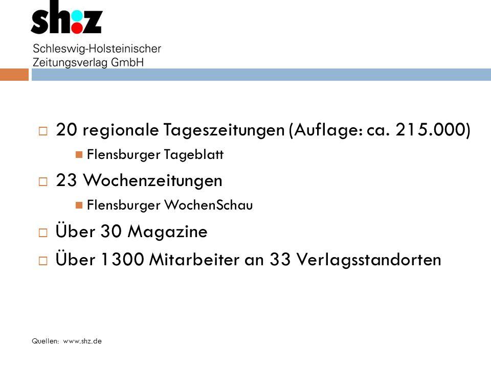 20 regionale Tageszeitungen (Auflage: ca. 215.000) 23 Wochenzeitungen