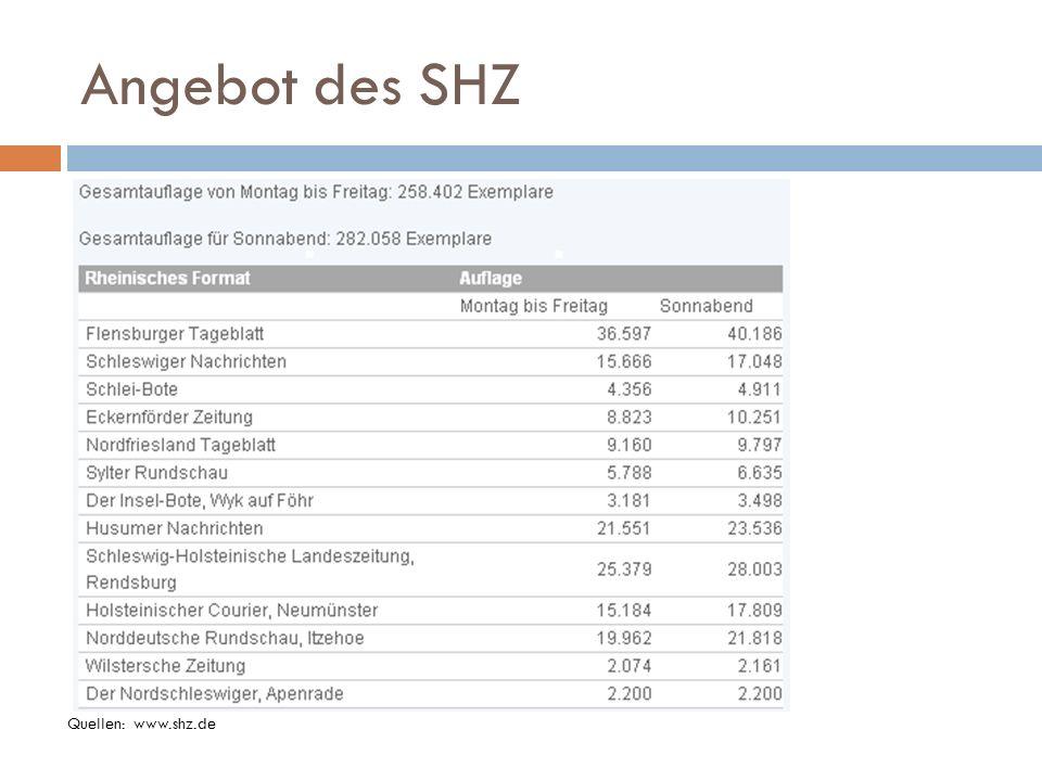 Angebot des SHZ Quellen: www.shz.de