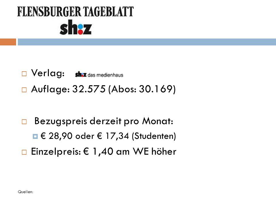 Bezugspreis derzeit pro Monat: Einzelpreis: € 1,40 am WE höher