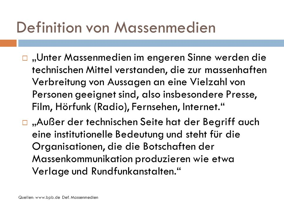 Definition von Massenmedien