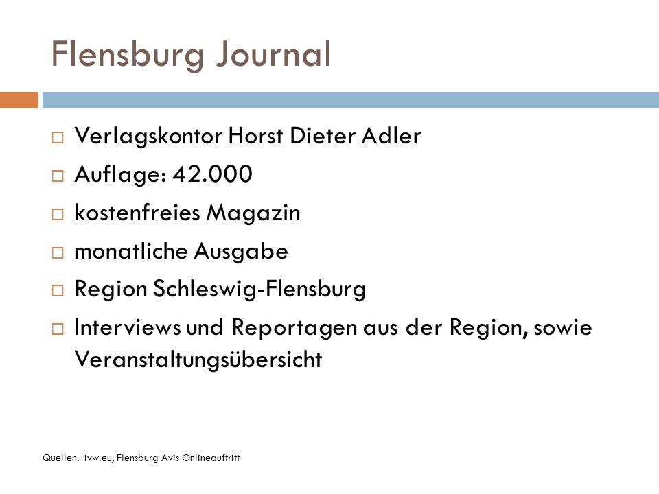 Flensburg Journal Verlagskontor Horst Dieter Adler Auflage: 42.000