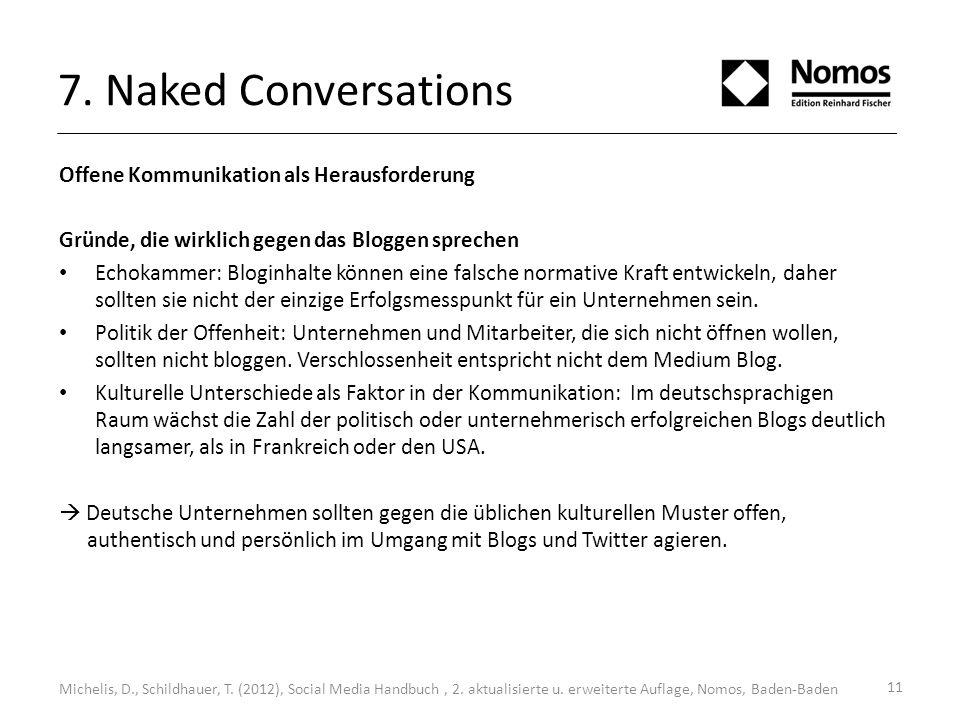 7. Naked Conversations Offene Kommunikation als Herausforderung