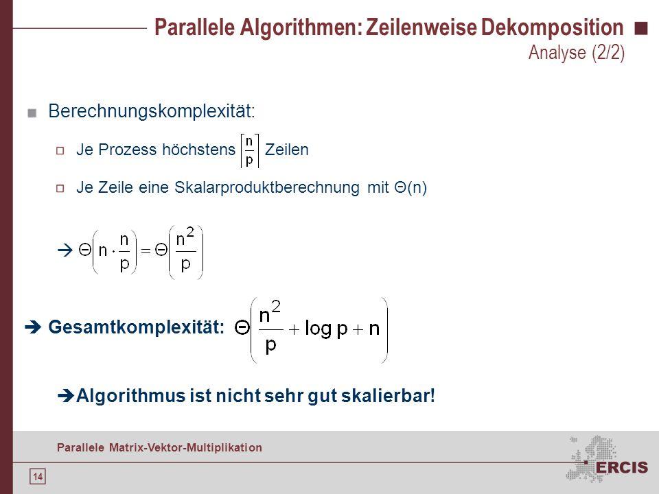Parallele Algorithmen: Zeilenweise Dekomposition