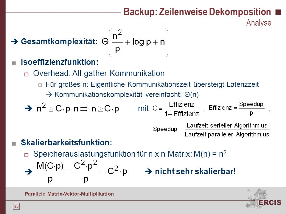 Backup: Zeilenweise Dekomposition