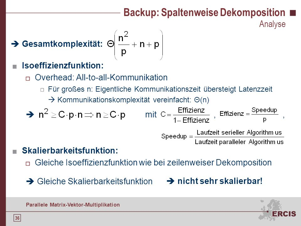 Backup: Spaltenweise Dekomposition