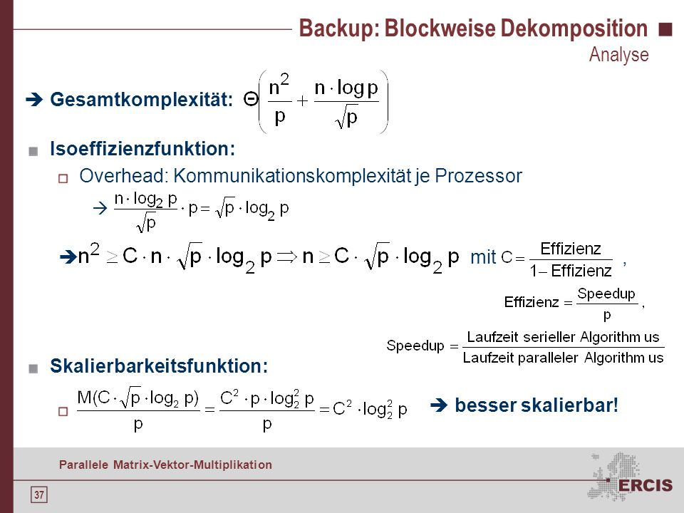 Backup: Blockweise Dekomposition