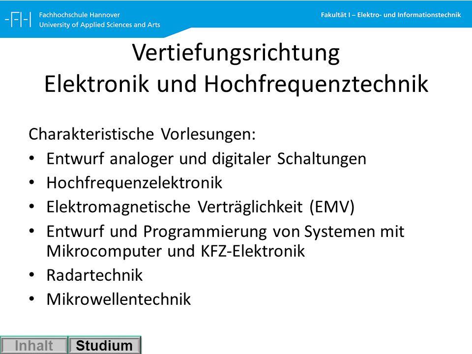 Vertiefungsrichtung Elektronik und Hochfrequenztechnik