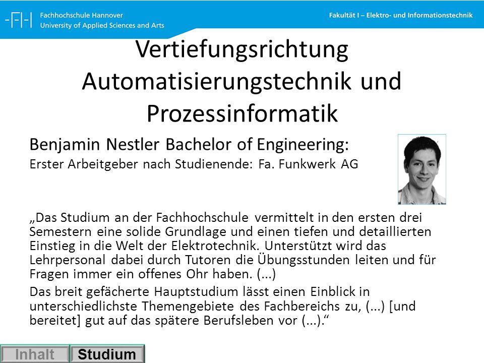 Vertiefungsrichtung Automatisierungstechnik und Prozessinformatik