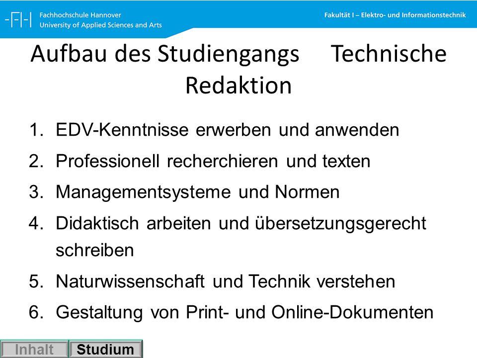 Aufbau des Studiengangs Technische Redaktion