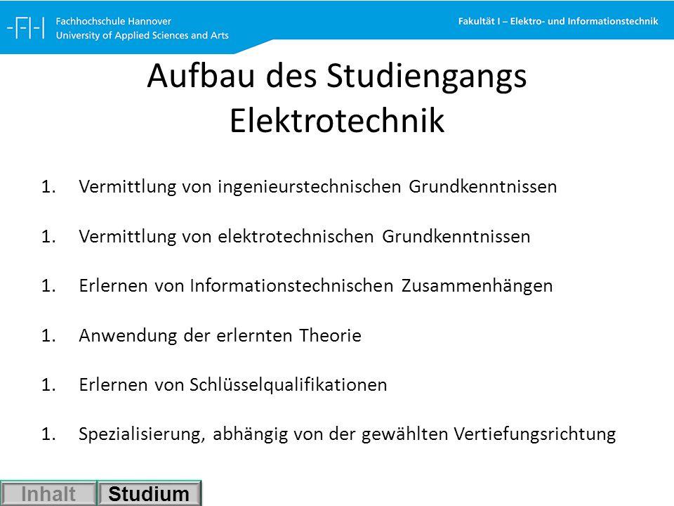 Aufbau des Studiengangs Elektrotechnik