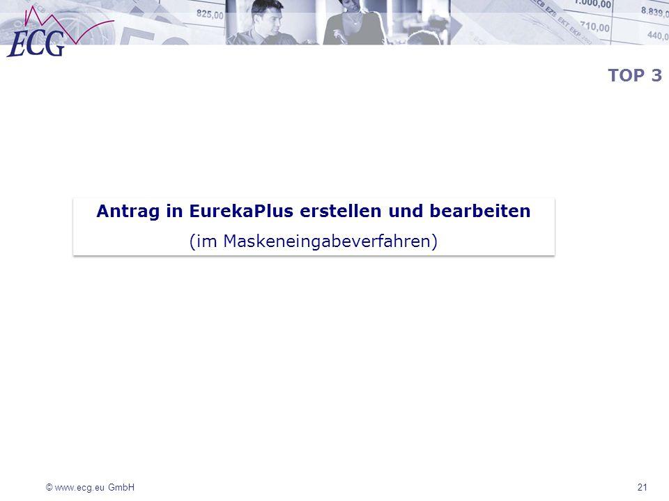 Antrag in EurekaPlus erstellen und bearbeiten