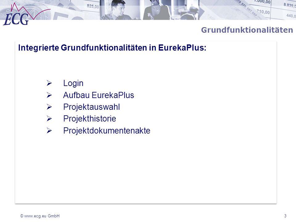 Integrierte Grundfunktionalitäten in EurekaPlus: