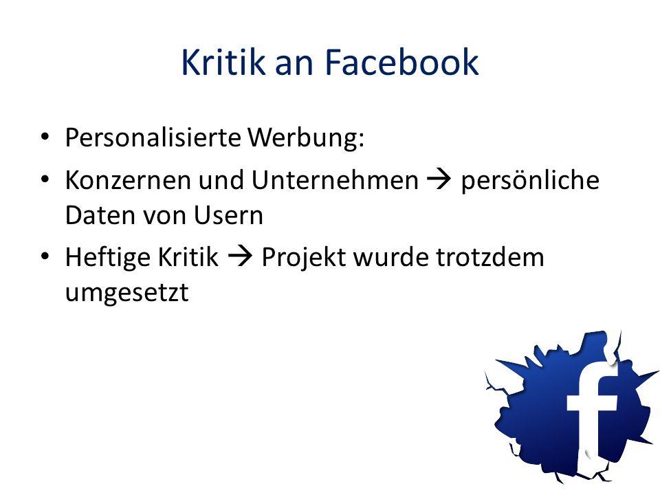 Kritik an Facebook Personalisierte Werbung: