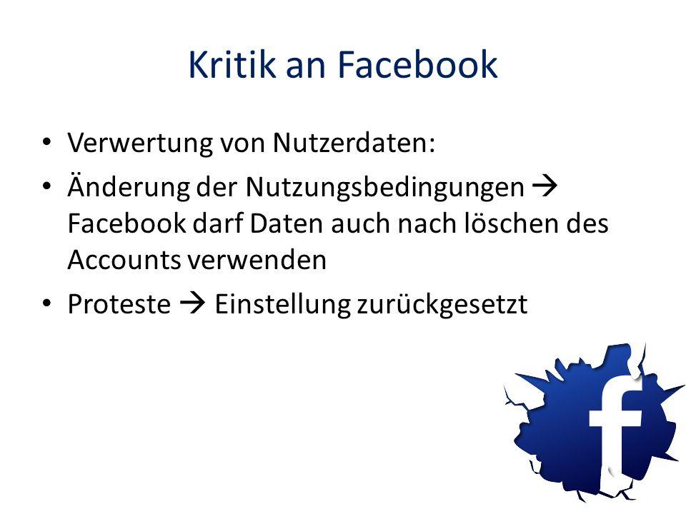 Kritik an Facebook Verwertung von Nutzerdaten: