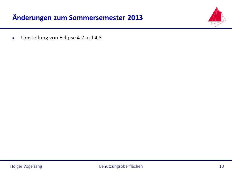 Änderungen zum Sommersemester 2013