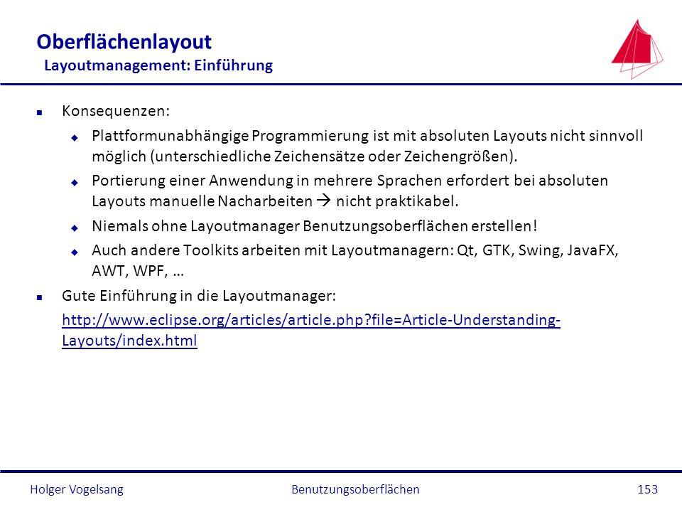 Oberflächenlayout Layoutmanagement: Einführung