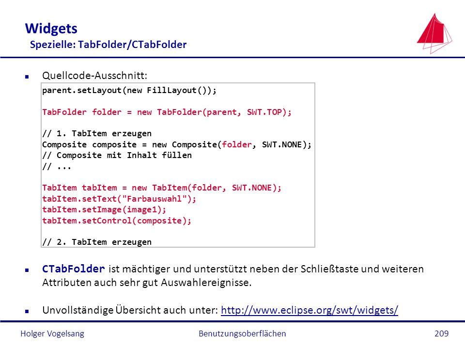 Widgets Spezielle: TabFolder/CTabFolder