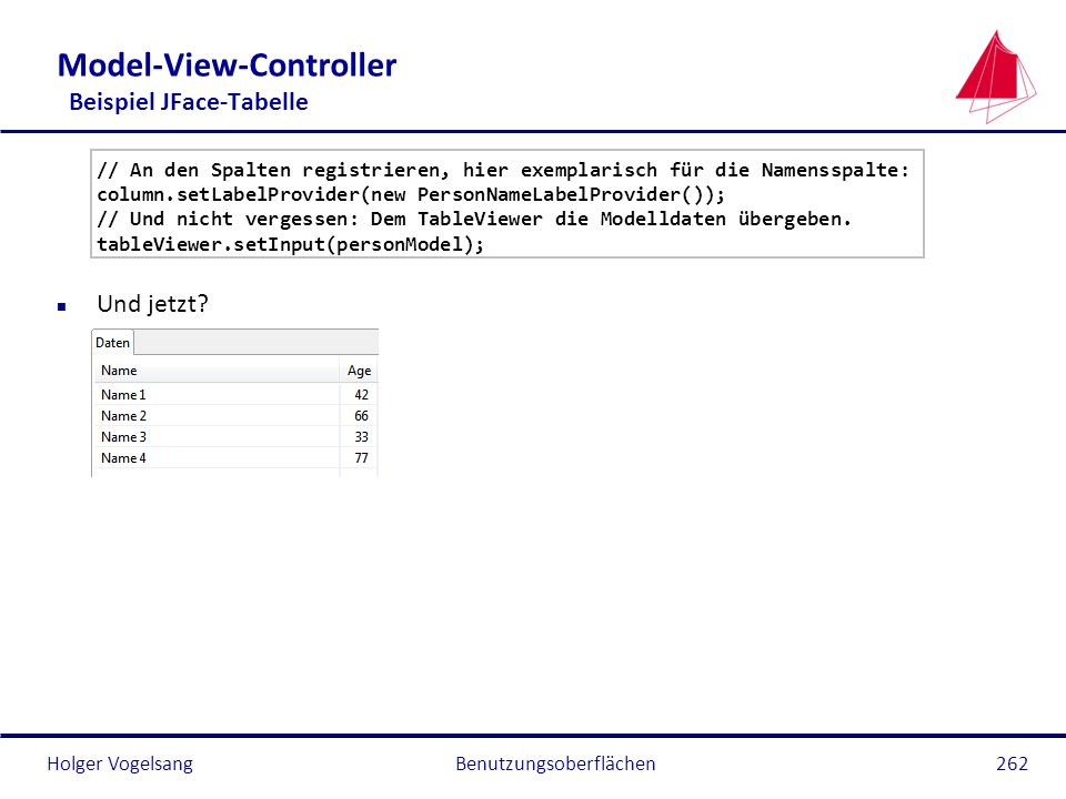 Model-View-Controller Beispiel JFace-Tabelle