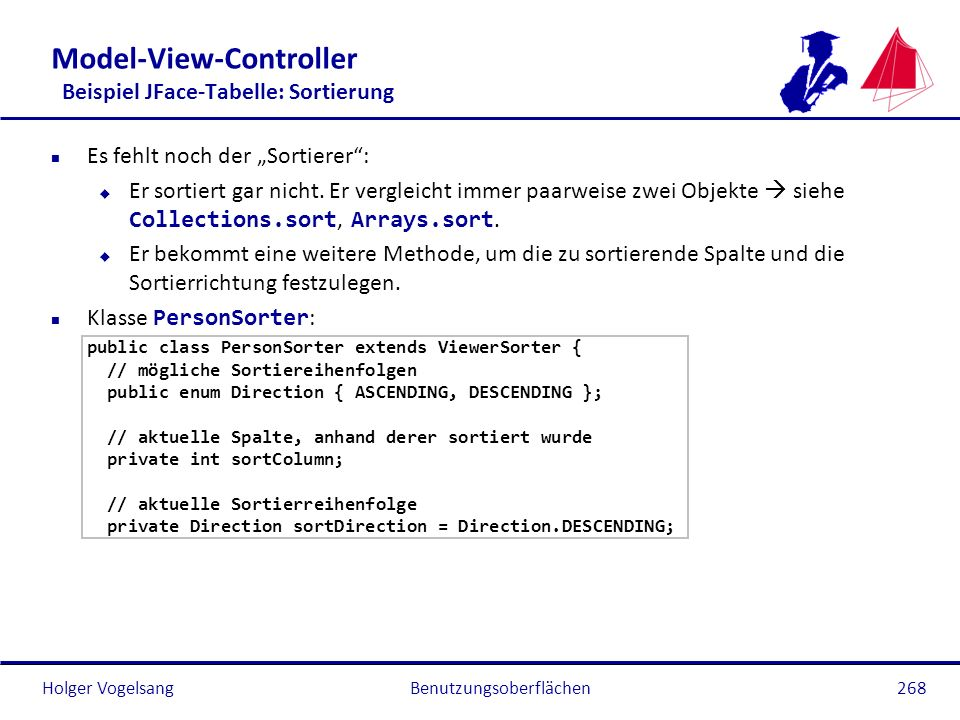 Model-View-Controller Beispiel JFace-Tabelle: Sortierung