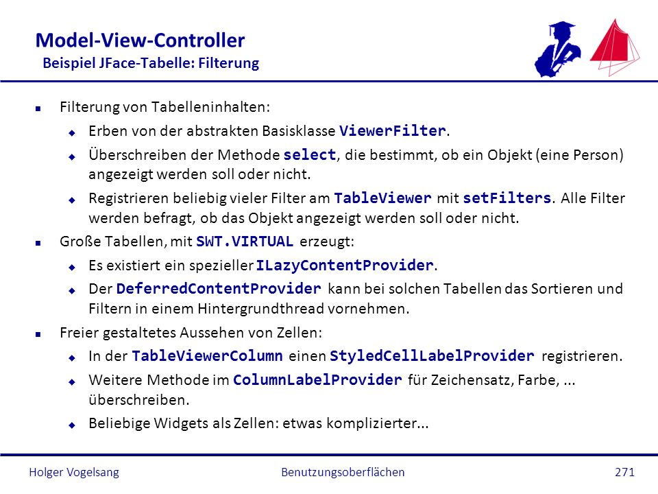 Model-View-Controller Beispiel JFace-Tabelle: Filterung