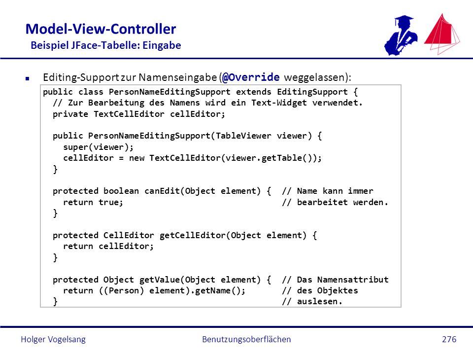 Model-View-Controller Beispiel JFace-Tabelle: Eingabe