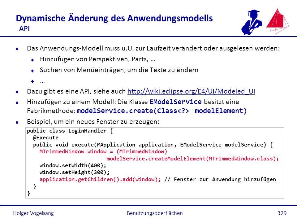 Dynamische Änderung des Anwendungsmodells API