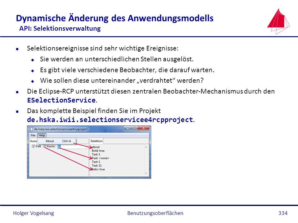 Dynamische Änderung des Anwendungsmodells API: Selektionsverwaltung