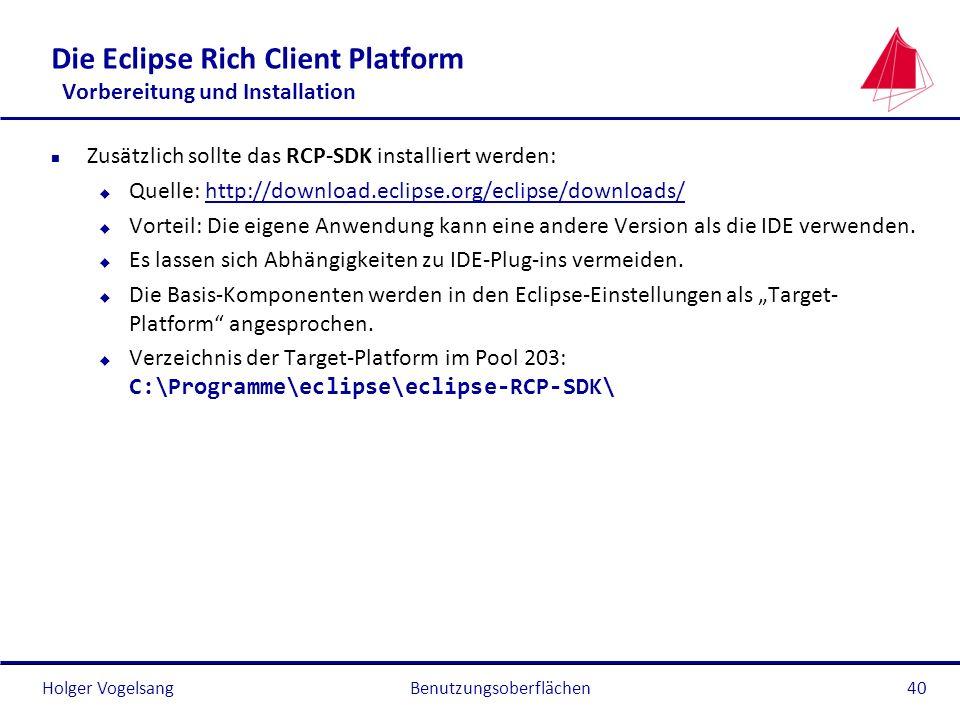 Die Eclipse Rich Client Platform Vorbereitung und Installation