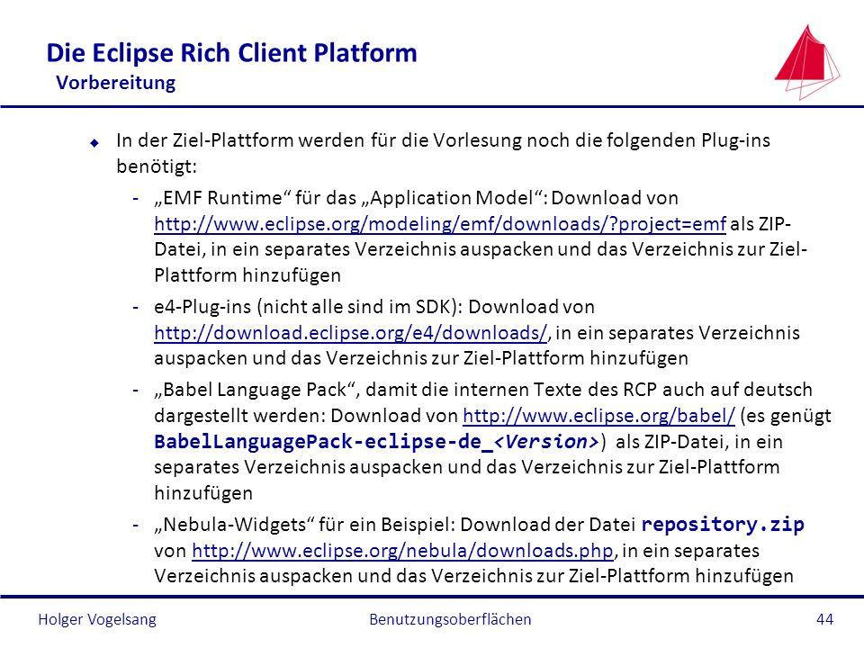 Die Eclipse Rich Client Platform Vorbereitung