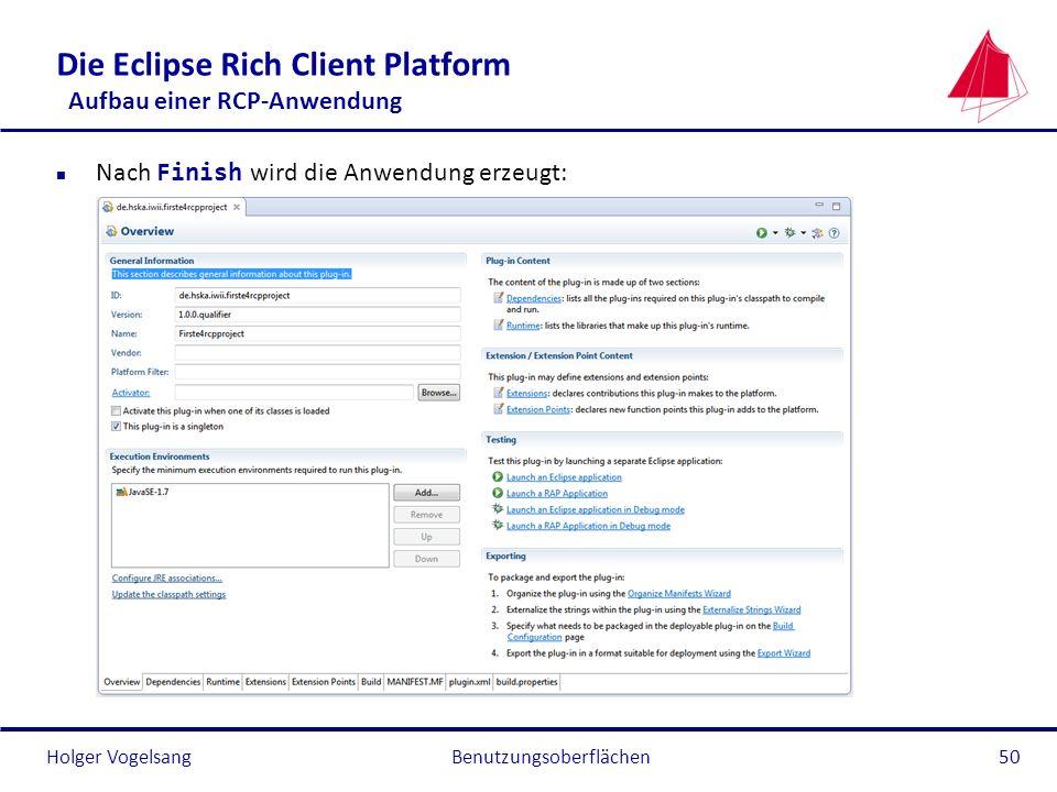 Die Eclipse Rich Client Platform Aufbau einer RCP-Anwendung