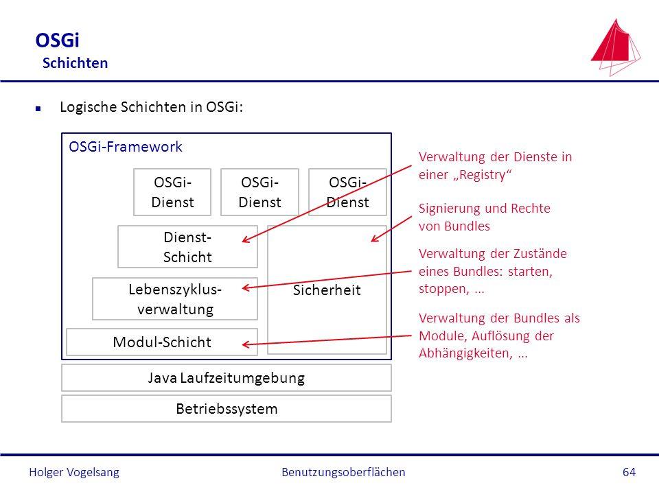 OSGi Schichten Logische Schichten in OSGi: OSGi-Framework OSGi-Dienst