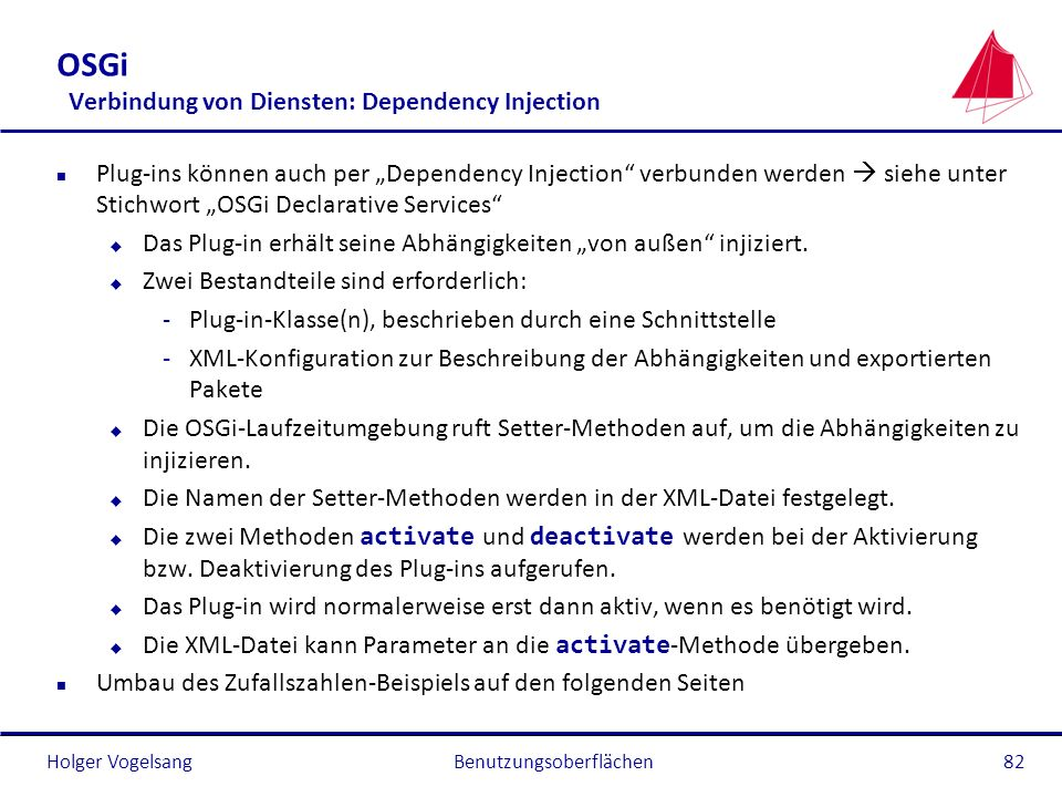 OSGi Verbindung von Diensten: Dependency Injection